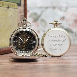 Engraved Pocket Watch With Roman Numerals - personalised jewellery