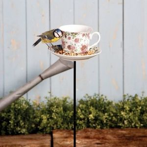 Bird Feeder Teacup On A Pole - gardener