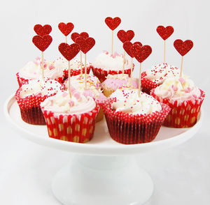 Set Of Twelve Red/Pink Glitter Heart Cupcake Toppers - cake decoration