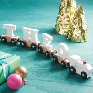 Personalised White Wooden Name Train - gifts for babies