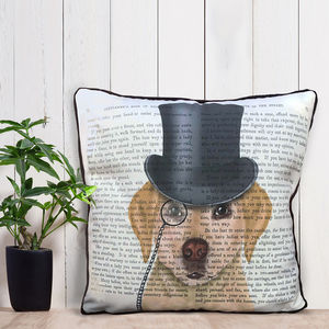 Yellow Labrador Cushion, Formal Dog Collection - bedroom