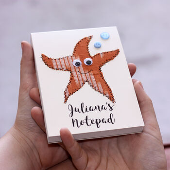Personalised Starfish Embroidered Notepad