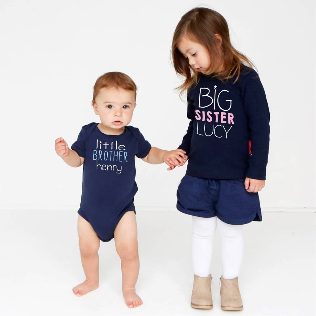 Personalised Sibling Top And Vest Set