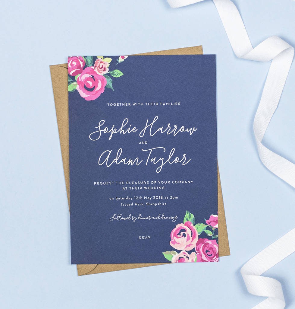 Adela Navy And Pink Floral Wedding Invitations By Project
