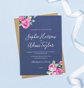 Adela Navy And Pink Floral Wedding Invitations