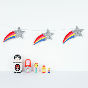Rainbow Shooting Star Garland - children's room