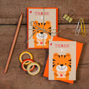 Children's Mini Thank You Cards Tiger - thank you cards