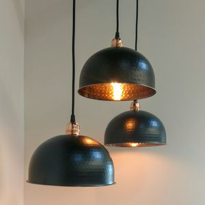 Copper And Black Pendant Light - bedroom