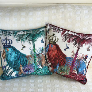 Tropical Lions Decorative Cushion