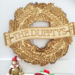 Christmas Wreath Personalised Wooden Family Wreath - wreaths