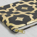 Large Metallic Moroccan Zip Pouch
