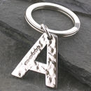 Alphabet Key Ring Hammered Initial In Sterling Silver