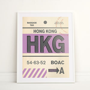Hong Kong Vintage Destination Tag Print