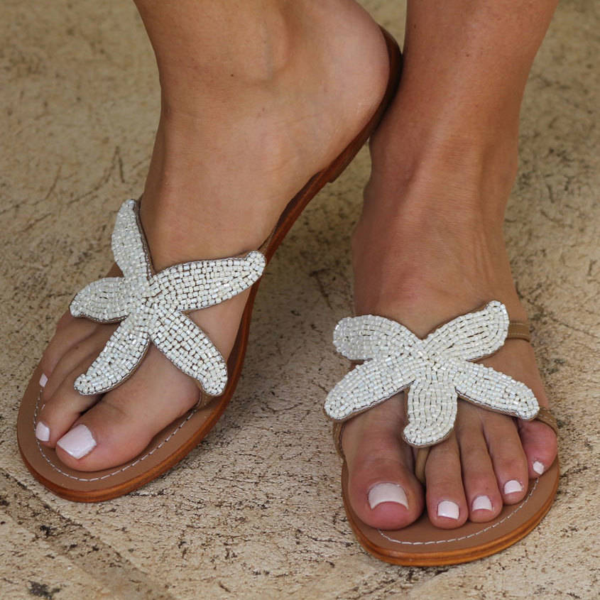 ad91b73445a0 starfish white beaded flat leather sandals by aspiga ...