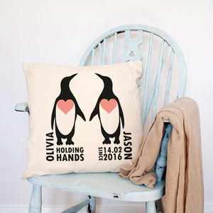 Personalised 'Holding Hands Since..' Penguin Cushion - bedroom