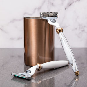 Marble Resin And 18 Carat Rose Gold Razor - for your other half