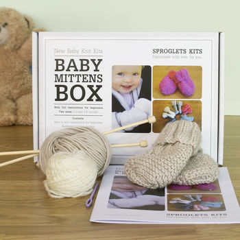 Baby mitten knitting kit in soft fawn