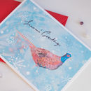 a winter scene  Christmas card with British game bird the Pheasant by Inkpaintpaper