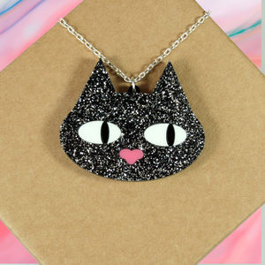 Cat Lovers Glitter Kitty Necklace Gift - necklaces & pendants