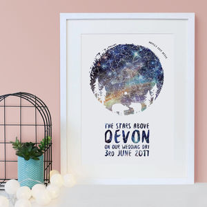 Personalised Bear Couple Star Chart Print - prints & art sale