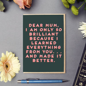 'Dear Mum' Bold Text Card - shop by category