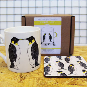 Penguin Mug and Coaster Anniversary Gift Set