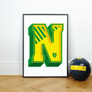 Norwich Football Print, Personalised Alphabet Letter