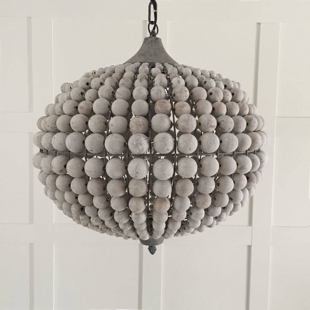White washed wood sphere chandelier chandeliers by shades of light - Large Beaded Wood Ball Globe Chandelier Lighting