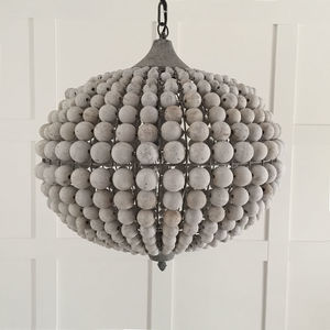 Large Beaded Wood Ball Globe Chandelier - ceiling lights