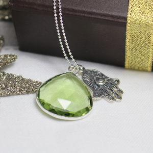 Personalised Hamsa Hand And Green Amethyst Necklace - necklaces & pendants