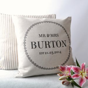'Mr And Mrs' Cushion Cover - mr & mrs