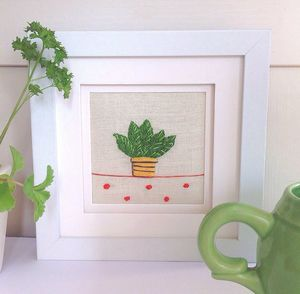 Pot Plant Hand Embroidered Artwork - textile art