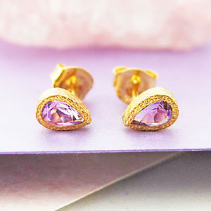 Amethyst Gold Teardrop February Birthstone Earrings - earrings