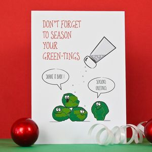 Brussels Sprout Seasonal Christmas Card - cards