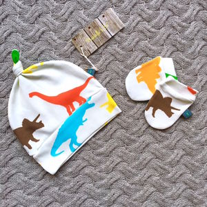 Colourful Dinosaur Organic Hat And Scratch Mits Set - clothing
