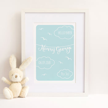 Hello Baby Boy Personalised Print