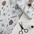 Christmas Botanical Gift Wrap, White Pine