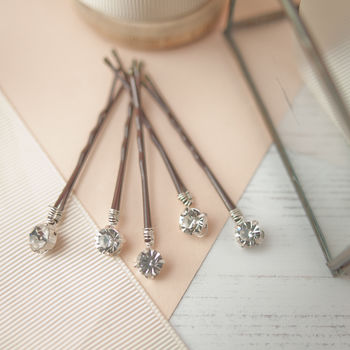 Set Of Five Diamante Bobby Pins