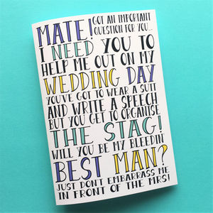 Funny 'Will You Be My Best Man?' Card