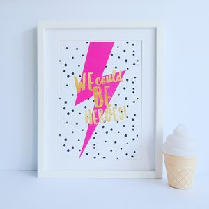 'We Could Be Heroes' David Bowie Print - typography