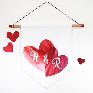 Valentines Personalised Watercolour Hearts Banner Gift - home accessories