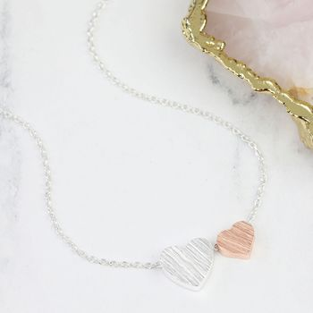 Brushed Double Heart Necklace In Silver And Rose Gold
