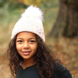 Cream Beanie Hat With Removable Faux Fur Pom Pom - hats, scarves & gloves