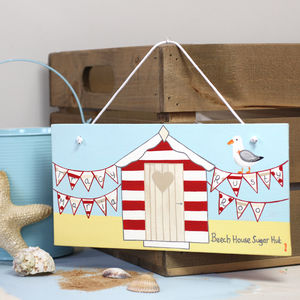 Personalised Family Beach Hut Canvas Sign - architecture & buildings
