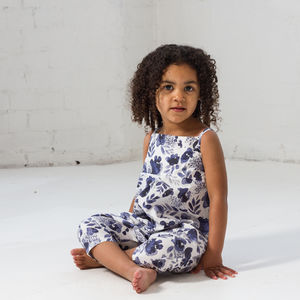 Blue Inky Botanical Playsuit - trousers & leggings