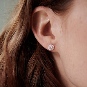 14 K Gold Vermeil Diamond And Moonstone Hexagon Earrings - gifts for her