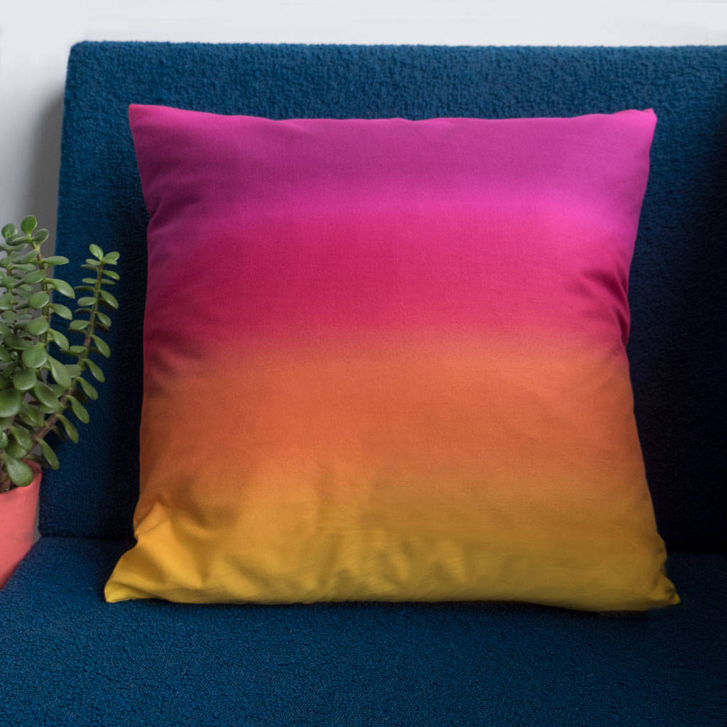 Pink To Yellow Ombre Cushion