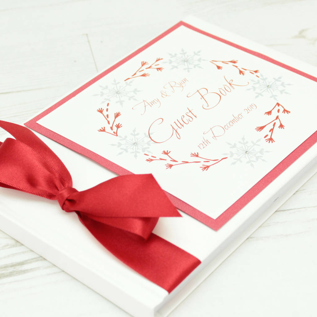 personalised winter snowflake wedding guest book by dreams to ...