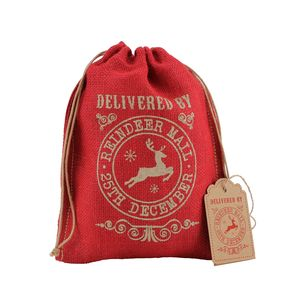 Red Hessian Gift Bag - winter sale