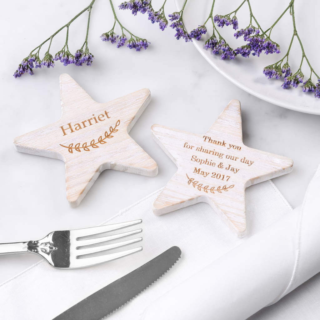 Personalised Wooden Star Wedding Place Names